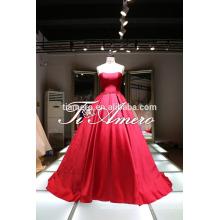 Vestido de noiva de vestido de bola de alta qualidade para menina pura / creme de nó de arco colorido Vestido de casamento moderno sem alças para 2016