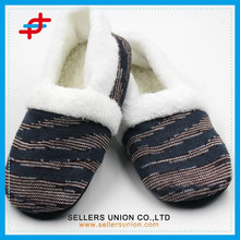 China Zipper Shoes Factory Zebra-stripe Soft Indoor Slipper Shoes / Lady Footwear Slipper Shoes