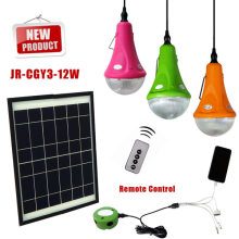 Casa uso alta calidad 12W panel solar/3 * 3w led lámparas sistema de energía Solar