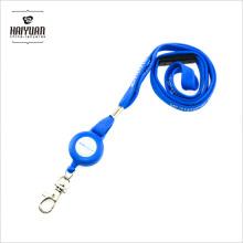 Cordão de pescoço tubular azul impresso personalizado com carretel de emblema azul