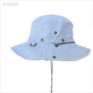 custom wide brim blank jeans denim bucket hat cap with string