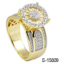 14k banhado a ouro jóias anel prata 925
