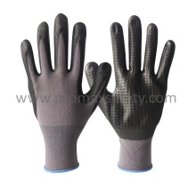 15g Grey Nylon Gloves with Black Ultra Thin Foam Nitrile and Mini Dots on Palm