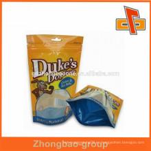 Material laminado y excelente impresión de plástico perro tratar bolsa / perro bolsa de alimentos de embalaje con cremallera