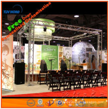 lighting portable exhibition truss booth/truss display stand with lighting glass floor system and banner in china