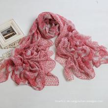 Art und Weise Cashew-Drucken-Schal-Polyester-Voile-Frauen langer Schal, roter Farben-Schal (PP038AL)