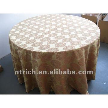 Damast Tischdecke, Tisch decken, Tischwäsche, Goldfarbe, Jacquard Tischdecke, Tischdecke Hotel, schönes Muster und starke Stoff
