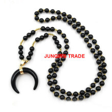 Natural Lapis Violet Crystal Beads Horn Horn Pendant Necklace Amazon Hot Sale Sweater Chain Mala Necklace
