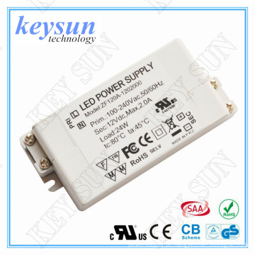 12v 2a levou driver AC-DC Constant Voltage LED Driver, UL para LED strip