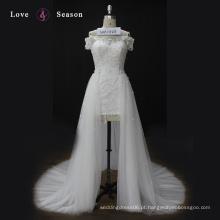 WX1564 uma linha de ombro vestido de casamento de luxo 2017 vestido bola de noiva projeta vestido magro