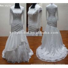 Lace mangas compridas Vestido de casamento muçulmano Catedral Train Vestido de casamento nupcial