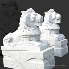 Outdoor-Garten-Dekoration Steinschnitzerei Granit Löwen Statuen zu verkaufen