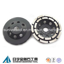 Diamante doble fila ruedas abrasivas de cubeta para hormigón