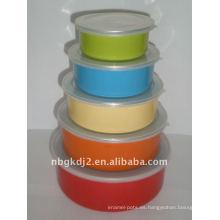 5pcs cuenco de almacenamiento de esmalte establece con tapa