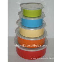 5pcs enamel storage bowl sets with cover