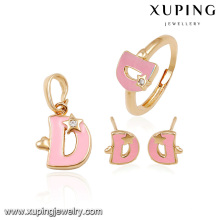 64016-high fashion costume jewelry 18k gold dribble jewelry set alphabet D