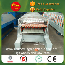 Máquina de telha de pressão a frio de camada dupla para painéis corrugados e cauda de cauda