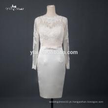 RQ110 Elegante, simples, de manga comprida, para trás, renda, vestidos de noiva, curto
