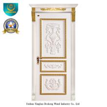 Porta de madeira maciça estilo europeu com escultura para interior (DS-042)