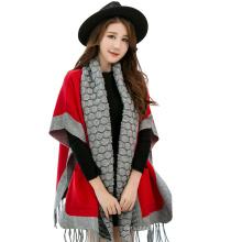 2017 invierno mantón de la ropa de punto de moda viscosa pashmina chal flequillo con mangas bolsillos
