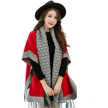2017 Winter Garment Shawl Fashion Knitted Viscose Pashmina Shawl Fringe With Sleeves Pockets