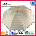 21inch White and Navy Blue Stripe Light Weight Windproof Folding Umbrella