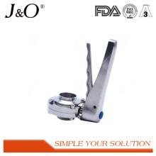 Válvula de borboleta masculina da solda sanitária de aço inoxidável com punho do S