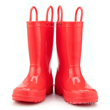 Kids New Fashion Orange Red Color Waterproof Nature Material  Rain Boots Easy-on Handles Shoes