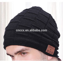 PK18ST014 novo produto chapéus de tricô gorro chapéu com fone de ouvido sem fio para homens