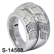 Rhodium 925 Sterling Silver Jewelry CZ Ring Sets (S-14568)