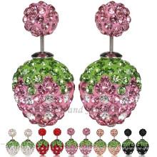 Double Ball Strawberry Crystal Stud Earring 8mm Shamballa Earring
