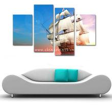 Peinture de toile de paysage de mer et de bateau