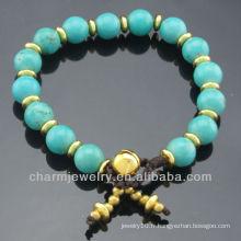 Hand Craft Turquoise 8MM Bracelet en perles rondes pour femme SB-0267