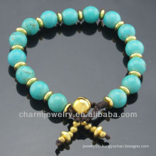 Hand Craft Turquoise 8MM Round Bead Bracelet Vners for women SB-0267