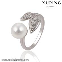 13755 Fashion Pretty CZ Round Pearl Leaf anillo de dedo de la joyería plateado plata para mujer