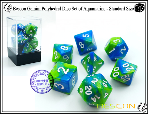 Bescon Gemini Dice Set of Aquamarine-1