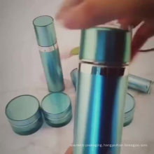 OEM/ODM cheap high quality Peacock Blue Electroplating acrylic Cream Bottle/ cosmetic jars and bottles