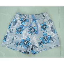 Yj-3029 Mens impresso cintura elástica exercício Beach Shorts com Drawstring Sports Clothing