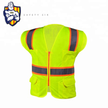 100% Polyester Mesh Customize Reflective Garment Zipper Yellow safety vest with pockets  Outdoor working safety vest