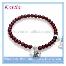 Großhandelsart und weiseschmucksache-Granit-Edelsteinkorn-Sterlingsilber-hängendes Armband