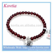 Wholesale fashion jewelry granet gemstone bead sterling silver pendant bracelet
