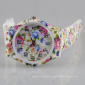 flower printed geneva ladies silicone rubber band watch