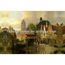 Pintura antigua de la imagen de la aldea para la decoración casera