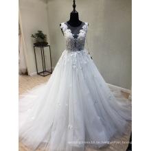 Elfenbein Perlen Spitze Prom Abendkleid Hochzeit Brautkleid