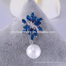 Atacado broche de vidro de safira pequenos broches Broche de Pérolas para Convites de Casamento