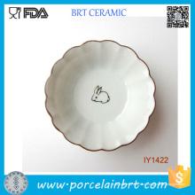 Borda ondulada do coelho encantador do conto de fadas da placa cerâmica