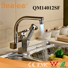 Kitchen Faucet LED Rotatable Two Heads and Handles Sink Pull out Colored Kitchen Faucet