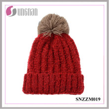 Latest Multicolor Thickening Wool Ball Simple Knitted Cap Women Warm Hat