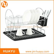 Support à vaisselle en acier chromé à 2 niveaux avec égouttoir et tasse à couverts (noir)