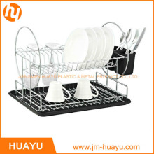 2-Tier Chrome Steel Dish Rack with Drainboard and Cutlery Cup (Black)